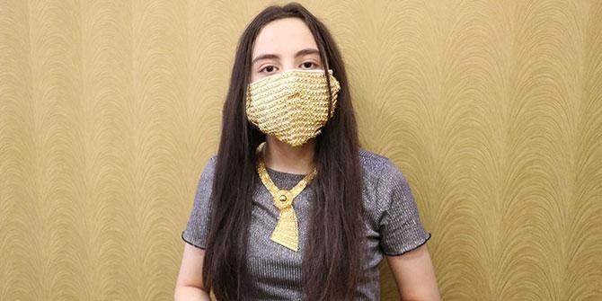 Kahramanmaraşlı kuyumculardan gelinlere altın işlemeli maske 1