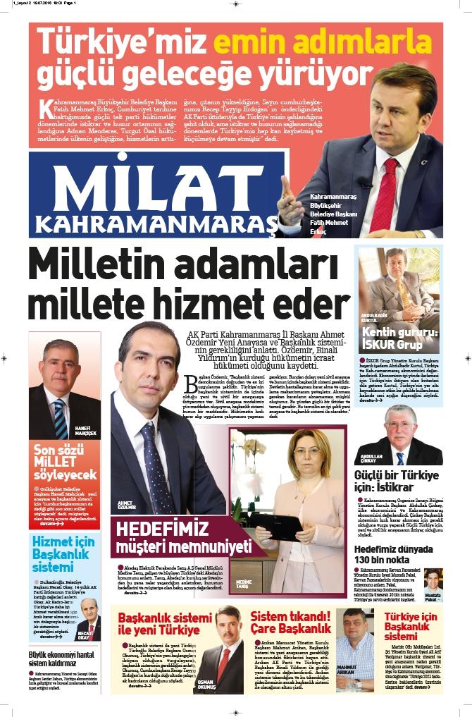 Milat Gazetesi Kahramanmaraş eki çıktı! 2