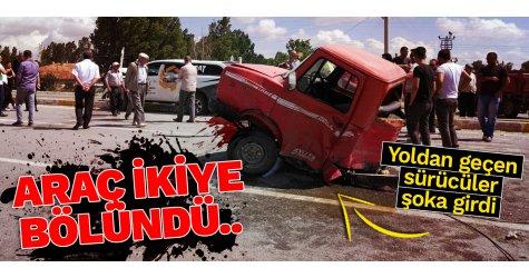 Feci kaza! Araç ikiye bölündü...