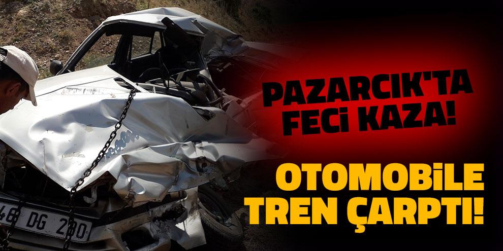Pazarcık'ta feci kaza! Otomobile tren çarptı!