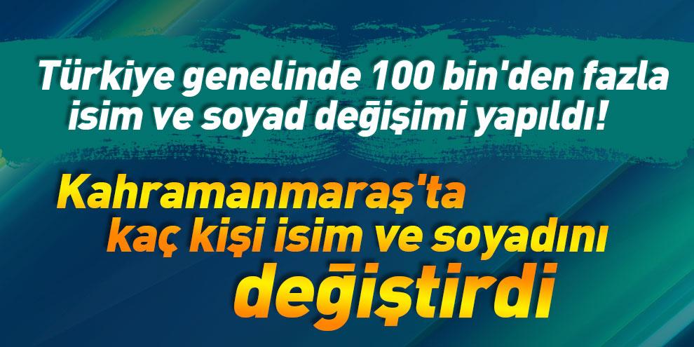 Türkiye genelinde 100 bin'den fazla isim ve soyad değişimi yapıldı! Kahramanmaraş'ta kaç kişi isim ve soyadını değiştirdi