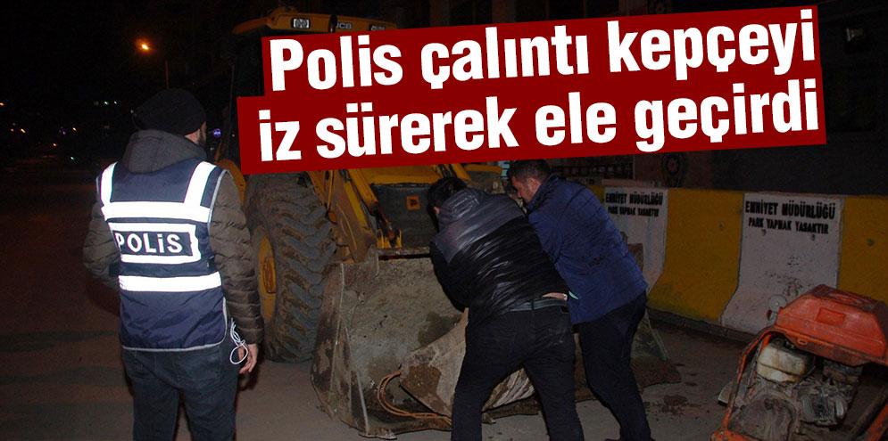 Polis, çalıntı kepçeyi iz sürerek ele geçirdi