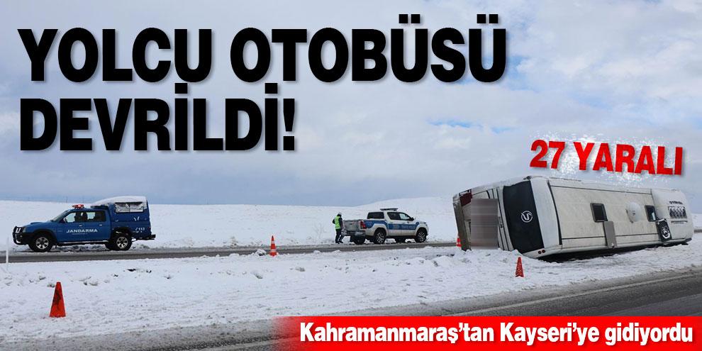 Yolcu otobüsü devrildi! 27 yaralı