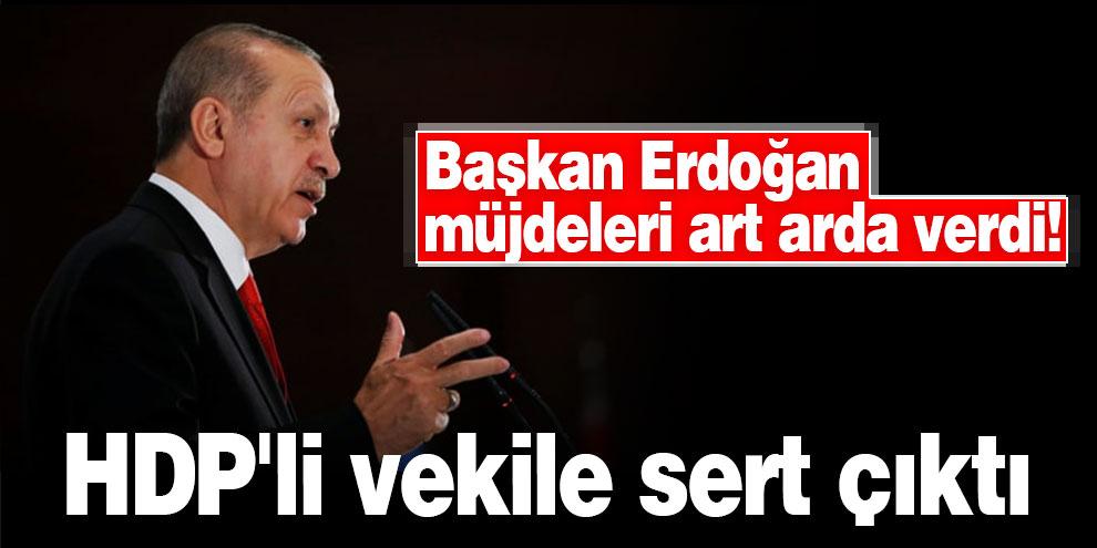 Başkan Erdoğan müjdeleri art arda verdi! HDP'li vekile sert çıktı