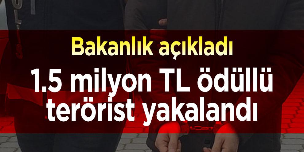 Bakanlık açıkladı: 1.5 milyon TL ödüllü terörist yakalandı