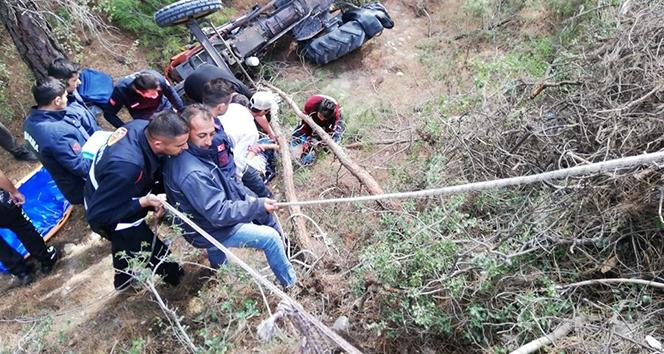 Traktörle 15 metreden uçtu, yaralı olarak kurtuldu
