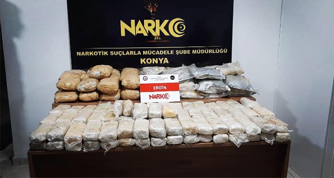 Konya'da 115 kilo 400 gram eroin ele geçirildi