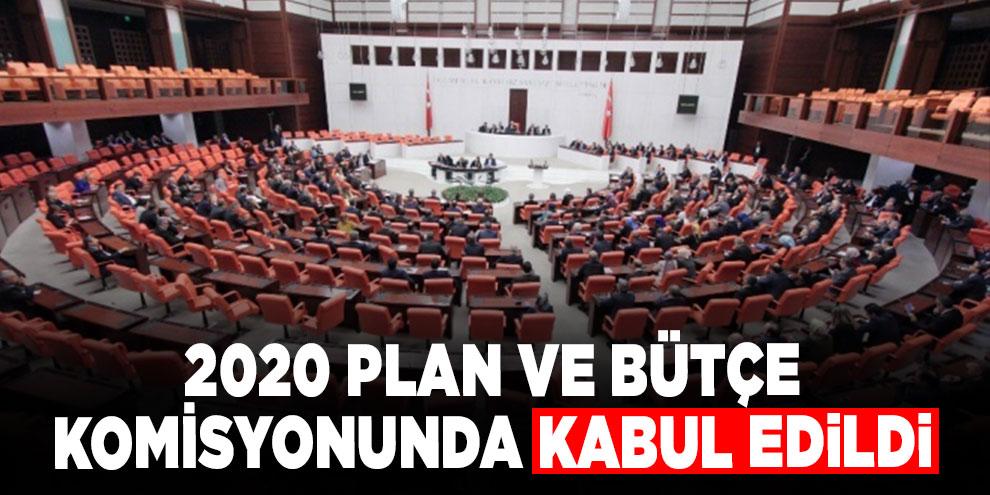 2020 Plan ve Bütçe Komisyonunda kabul edildi