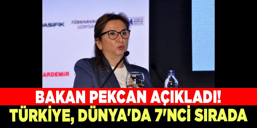 Bakan Pekcan açıkladı! Türkiye, Dünya'da 7'nci sırada