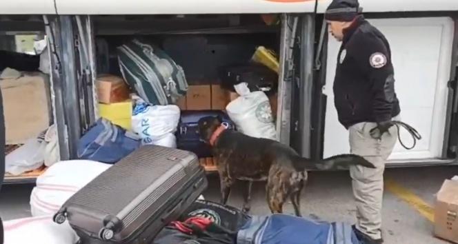 Otobüsteki yolcunun valizinden 10 kilo 380 gram eroin ele geçirildi