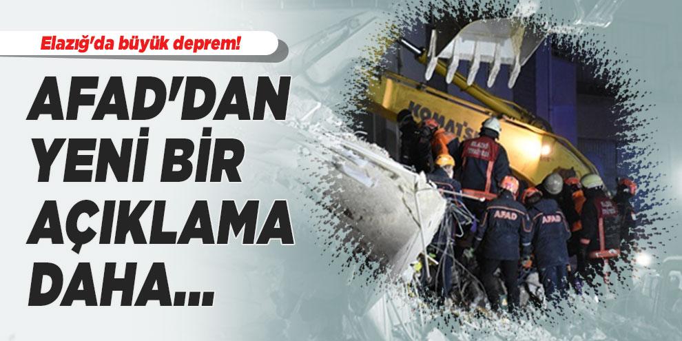 Elazığ'da büyük deprem! AFAD'dan yeni bir açıklama daha... Son bilanço açıklandı