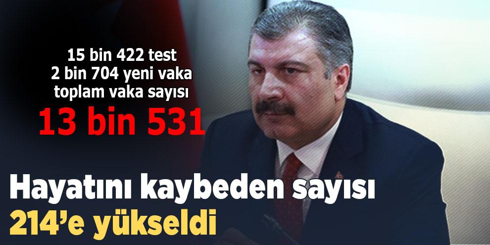 Türkiye'de koronavirüsten hayatını kaybeden sayısı 214'e yükseldi