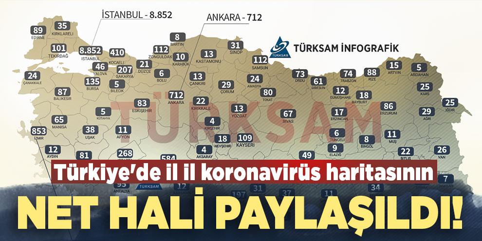 Türkiye'de il il koronavirüs haritasının net hali paylaşıldı!