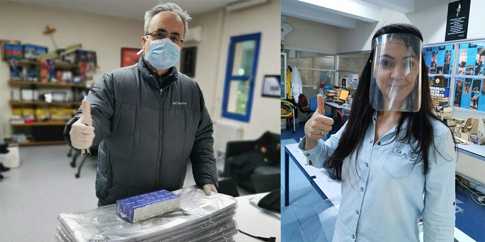 Lise öğrencileri sağlık çalışanları için yüz siperliği üretiyor