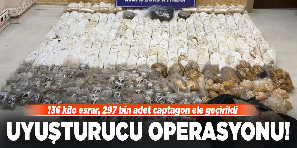 Uyuşturucu operasyonu! 136 kilo esrar, 297 bin adet captagon ele geçirildi