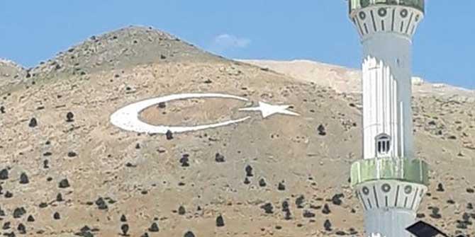 Kahramanmaraş'ta Nurhak Dağı'nın kalbine ay-yıldız işlendi
