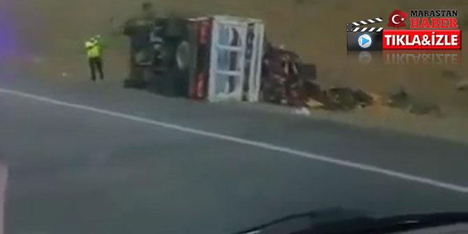 Kahramanmaraş'ta kavun yüklü kamyonet devrildi
