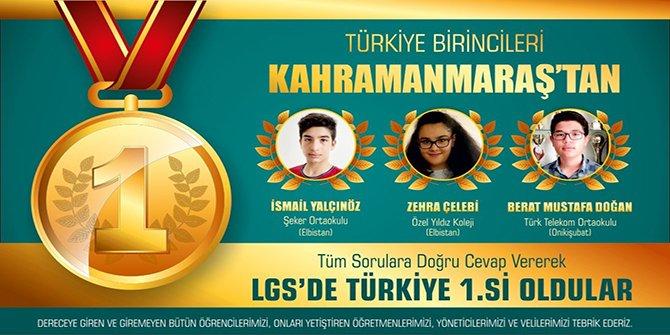 LGS Türkiye birincileri Kahramanmaraş'tan!