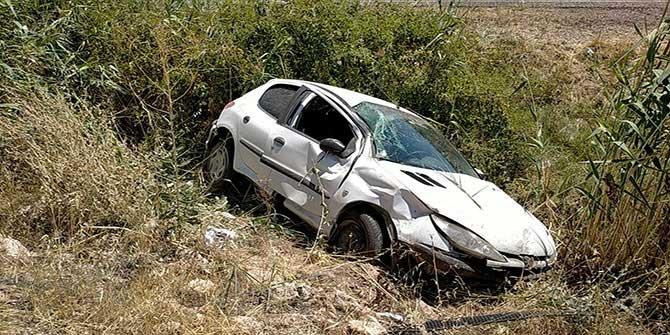 Kahramanmaraş Karayolunda otomobil şarampole uçtu
