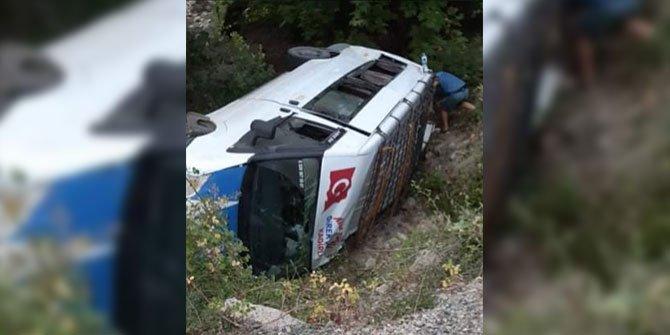 Kahramanmaraş'taki feci kazada yolcu minibüsü devrildi