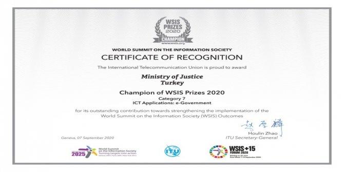 Adalet Bakanlığının uygulamasına Uluslararası ödül