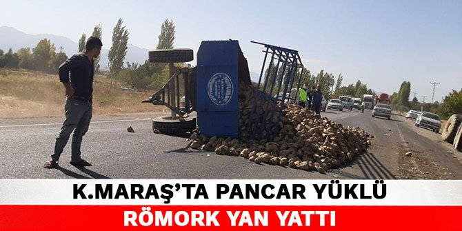 Kahramanmaraş'ta pancar yüklü römork yan yattı