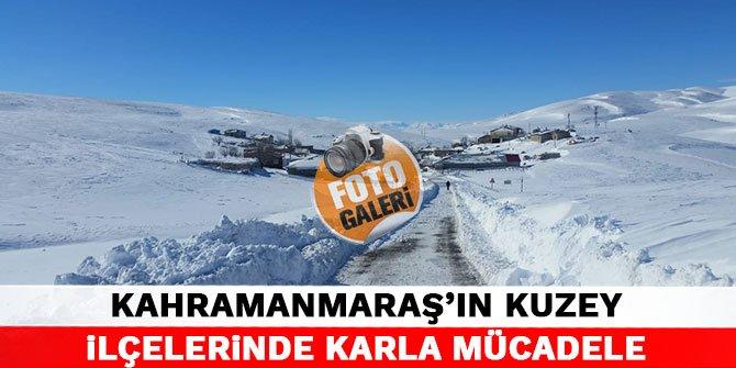 Kahramanmaraş'ın kuzey ilçelerinde karla mücadele