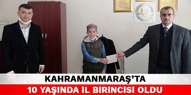 Kahramanmaraş'ta 10 yaşında il birincisi oldu