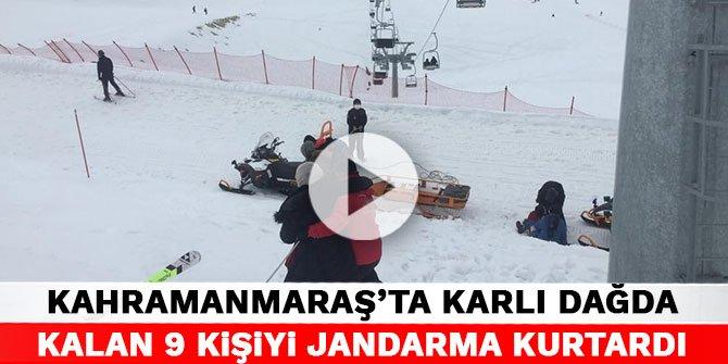 Kahramanmaraş'ta karlı dağda mahsur kalan 9 kişiyi jandarma kurtardı