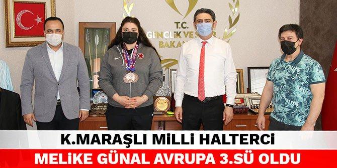 Kahramanmaraşlı Milli halterci Melike Günal avrupa 3.sü oldu