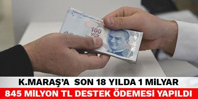Kahramanmaraş'a son 18 yılda 1 Milyar 845 Milyon TL destek ödemesi yapıldı