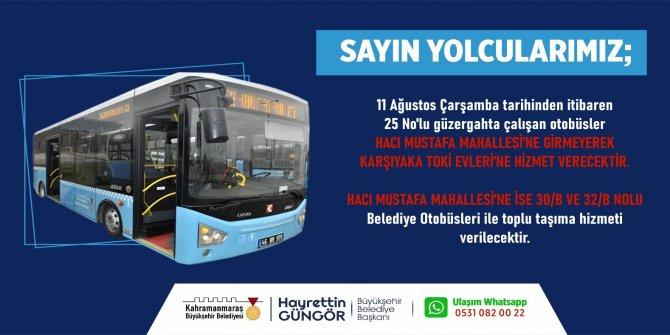 Kahramanmaraş'ta üç otobüs hattında değişiklik