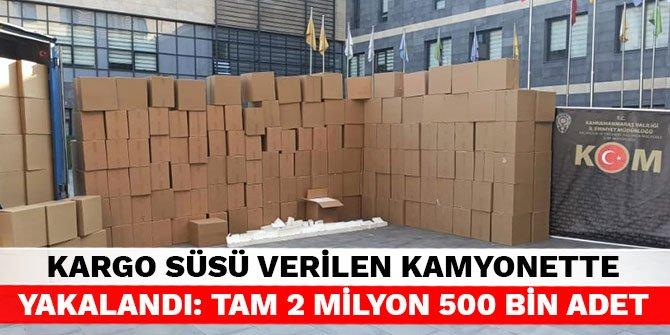 Kargo süsü verilen kamyonette yakalandı: Tam 2 milyon 500 bin adet
