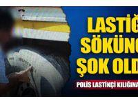Polis lastikçi kılığına girdi… Lastiği sökünce şok oldu!