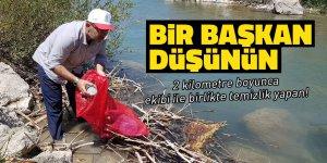 Başkan Güven ve ekibi, Hurman Nehri'nde temizlik yaptı