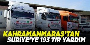 Kahramanmaraş'tan Suriye'ye 193 tır yardım