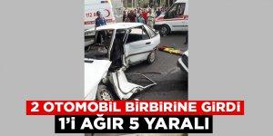 Kahramanmaraş'ta 2 otomobil birbirine girdi: 1'i ağır 5 yaralı