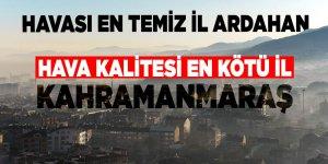 Havası en temiz il Ardahan, hava kalitesi en kötü il Kahramanmaraş