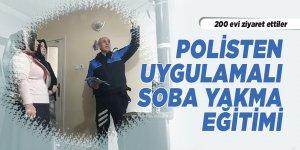 Polisten uygulamalı soba yakma eğitimi