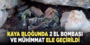 Kaya bloğunda 2 el bombası ve mühimmat ele geçirildi