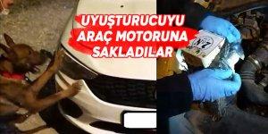 Uyuşturucuyu araç motoruna sakladılar