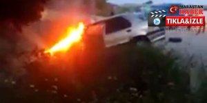 İki otomobil çarpıştı, araçlardan biri alev aldı!