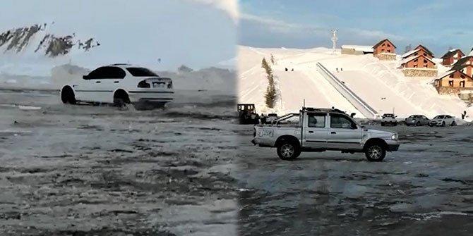 Kahramanmaraş'ta karda drift pahalıya patladı