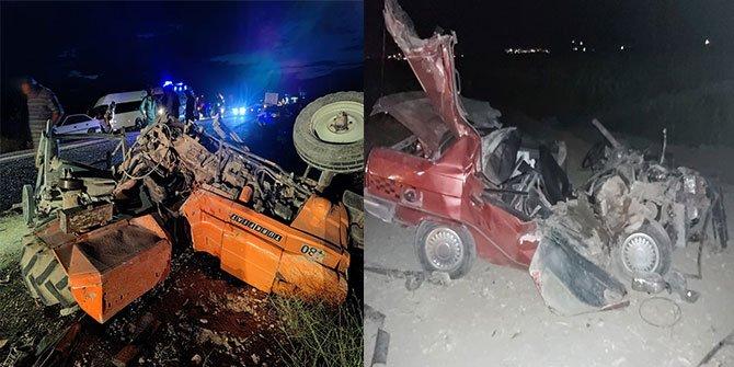 Kahramanmaraş'ta otomobil traktöre arkadan çarptı: 5 yaralı